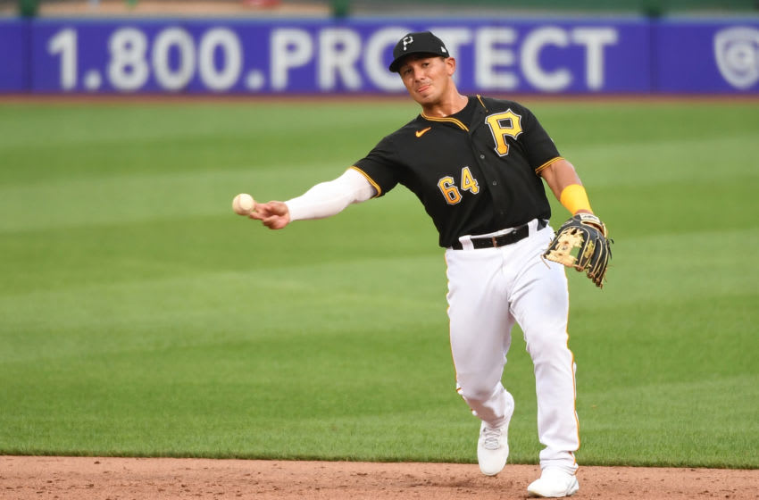 PITTSBURGH, PA - JULY 22: Phillip Evans #64 of the Pittsburgh Pirates in action during the exhibition game against the Cleveland Indians at PNC Park on July 22, 2020 in Pittsburgh, Pennsylvania. (Photo by Justin Berl/Getty Images)