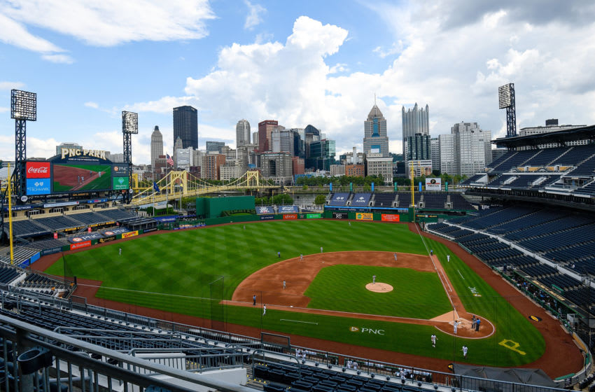 PITTSBURGH, PA - AUGUST 23: A general view of the field during the game between the Pittsburgh Pirates and the Milwaukee Brewers at PNC Park on August 23, 2020 in Pittsburgh, Pennsylvania. (Photo by Justin Berl/Getty Images) *** Local Caption ***