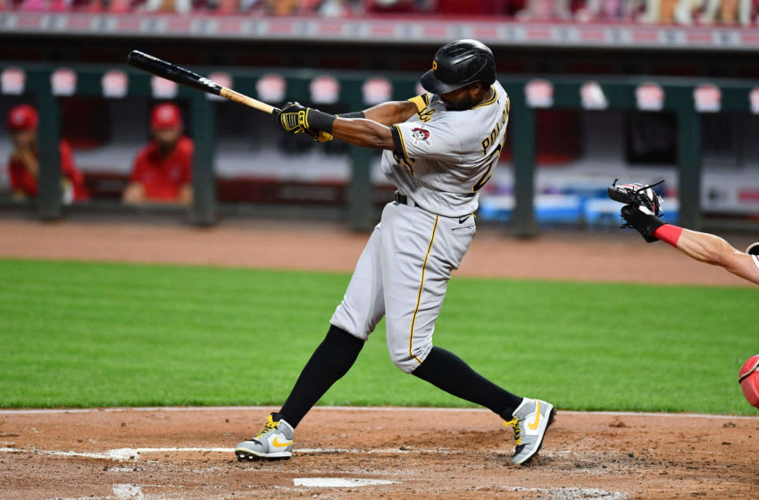 CINCINNATI, OH - SEPTEMBER 14: Gregory Polanco #25 of the Pittsburgh Pirates bats against the Cincinnati Reds during game two of a doubleheader at Great American Ball Park on September 14, 2020 in Cincinnati, Ohio. (Photo by Jamie Sabau/Getty Images)