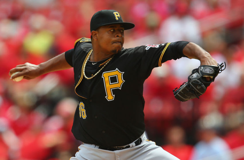 ST. LOUIS, MO - SEPTEMBER 3: Starter Edinson Volquez #36 of the Pittsburgh Pirates pitches against the St. Louis Cardinals in the first inning at Busch Stadium on September 3, 2014 in St. Louis, Missouri. (Photo by Dilip Vishwanat/Getty Images)