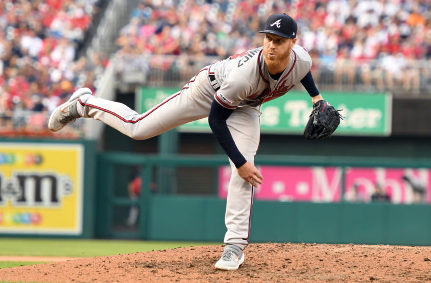 WASHINGTON, DC - SEPTEMBER 14: Mike Foltynewicz #26 of the Atlanta Braves pitches during a baseball game against the Washington Nationals at Nationals Park on September 14, 2019 in Washington, DC. (Photo by Mitchell Layton/Getty Images)