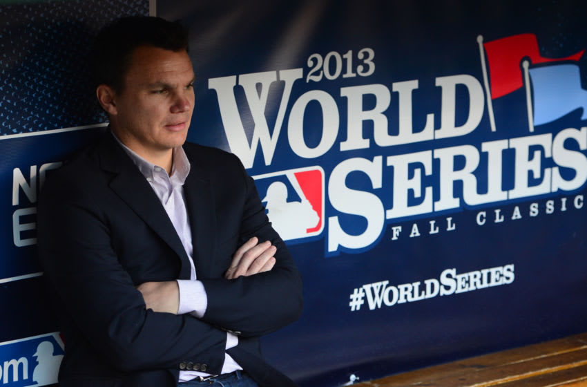ST. LOUIS, MO - OCTOBER 28: Boston Red Sox General Manager Ben Cherington sits in the dugout prior to Game Five of the 2013 World Series against the St. Louis Cardinals on October 28, 2013 at Busch Stadium in St. Louis, Missouri. (Photo by Michael Ivins/Boston Red Sox/Getty Images)