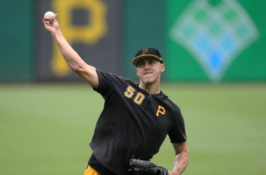 Jul 7, 2019; Pittsburgh, PA, USA; Pittsburgh Pirates pitcher Jameson Taillon (50) throws in the outfield before the game against the Milwaukee Brewers at PNC Park. Mandatory Credit: Charles LeClaire-USA TODAY Sports