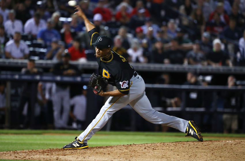 Feb 24, 2020; Tampa, Florida, USA; Pittsburgh Pirates relief pitcher Edgar Santana (37) throws a pitch during the third inning against the New York Yankees at George M. Steinbrenner Field. Mandatory Credit: Kim Klement-USA TODAY Sports