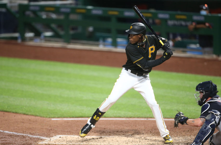 Jul 18, 2020; Pittsburgh, Pennsylvania, USA; Pittsburgh Pirates shortstop Oneil Cruz (61) at bat against the Cleveland Indians during the seventh inning at PNC Park. The Indians won 5-3. Mandatory Credit: Charles LeClaire-USA TODAY Sports