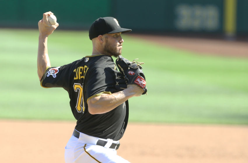 Sep 6, 2020; Pittsburgh, Pennsylvania, USA; Pittsburgh Pirates relief pitcher Nik Turley (71) pitches against the Cincinnati Reds during the seventh inning at PNC Park. The Pirates won 3-2. Mandatory Credit: Charles LeClaire-USA TODAY Sports