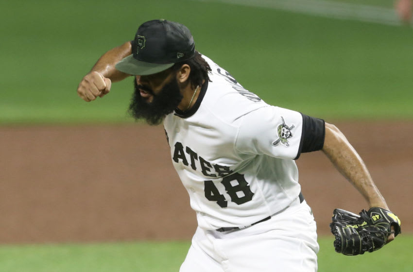 Sep 23, 2020; Pittsburgh, Pennsylvania, USA; Pittsburgh Pirates relief pitcher Richard Rodriguez (48) reacts after securing the final out on a strikeout of Chicago Cubs center fielder Ian Happ (not pictured) during the ninth inning at PNC Park. The Pirates won 2-1. Mandatory Credit: Charles LeClaire-USA TODAY Sports