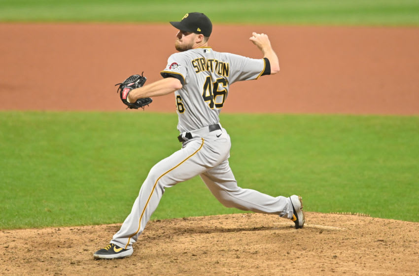 Sep 25, 2020; Cleveland, Ohio, USA; Pittsburgh Pirates relief pitcher Chris Stratton (46) throws a pitch during the ninth inning against the Cleveland Indians at Progressive Field. Mandatory Credit: Ken Blaze-USA TODAY Sports