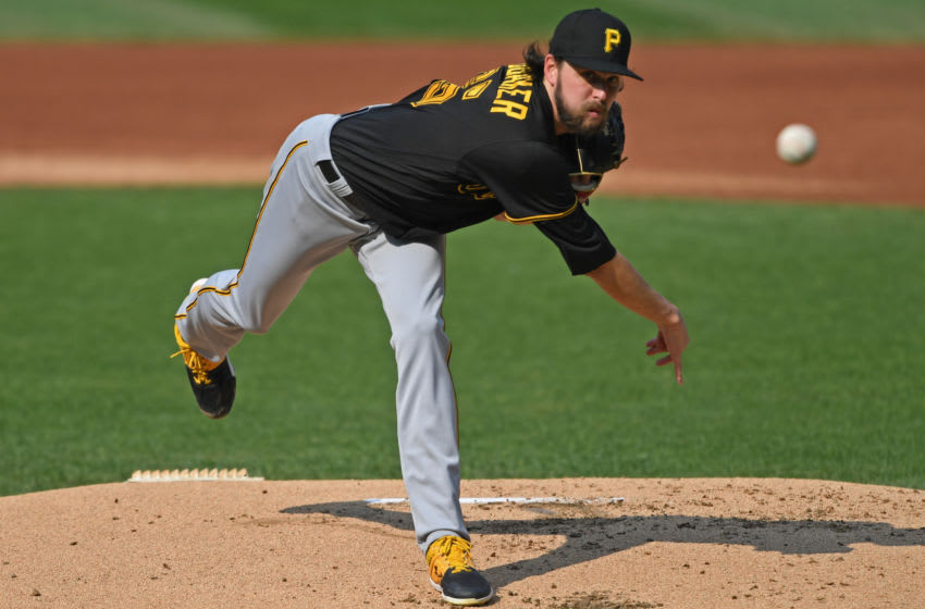 Sep 27, 2020; Cleveland, Ohio, USA; Pittsburgh Pirates starting pitcher JT Brubaker (65) throws a pitch during the first inning against the Cleveland Indians at Progressive Field. Mandatory Credit: David Dermer-USA TODAY Sports