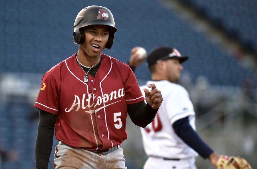 Altoona's Cal Mitchell (5) reacts to a call as the Binghamton Rumble Ponies lost to the Altoona Curve, 5-0, at the Ponies home opener on Tuesday, May 11, 2021.