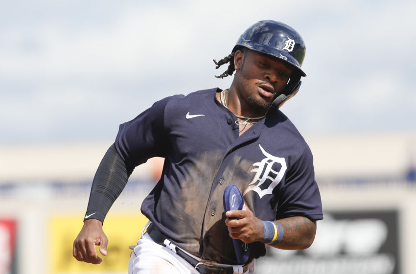 Feb 24, 2020; Lakeland, Florida, USA; Detroit Tigers left fielder Troy Stokes Jr. (55) runs around third base against the Houston Astros during the fourth inning at Publix Field at Joker Marchant Stadium. Mandatory Credit: Reinhold Matay-USA TODAY Sports