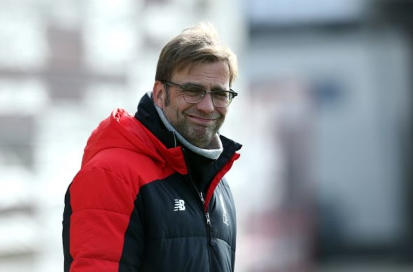 LIVERPOOL, ENGLAND - FEBRUARY 26: Liverpool manager Jurgen Klopp looks on during a training session ahead of their Capital One Cup final match against Manchester City at Melwood Training Ground on February 26, 2016 in Liverpool, United Kingdom. (Photo by Jan Kruger/Getty Images)