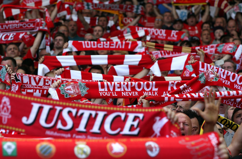 LIVERPOOL, ENGLAND - MAY 08: Liverpool Fans during the Barclays Premier League match between Liverpool and Watford at Anfield on May 8, 2016 in Liverpool, England. (Photo by Jan Kruger/Getty Images)