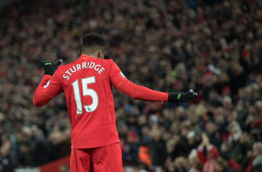 LIVERPOOL, ENGLAND - DECEMBER 27: Liverpool's Daniel Sturridge celebrates scoring his sides fourth goal during the Premier League match between Liverpool and Stoke City at Anfield on December 27, 2016 in Liverpool, England. (Photo by Terry Donnally - CameraSport via Getty Images)