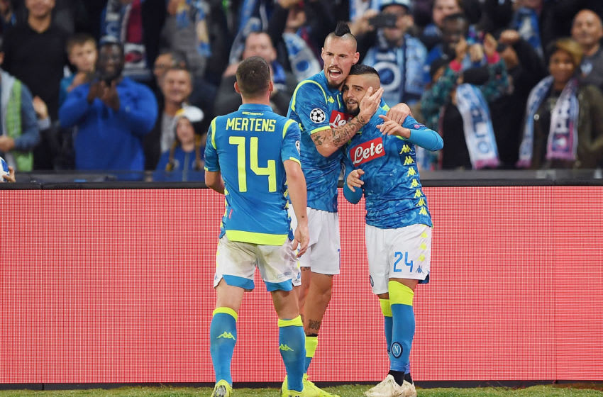 NAPLES, ITALY - NOVEMBER 06: Marek Hamsik, Lorenzo Insigne and Dries Mertens of SSC Napoli celebrate the 1-1 goal scored by Lorenzo Insigne during the Group C match of the UEFA Champions League between SSC Napoli and Paris Saint-Germain at Stadio San Paolo on November 6, 2018 in Naples, Italy. (Photo by Francesco Pecoraro/Getty Images)