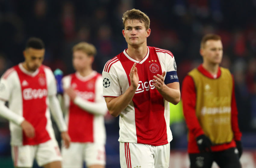 AMSTERDAM, NETHERLANDS - FEBRUARY 13: Matthijs de Ligt of Ajax acknowledges the fans after the UEFA Champions League Round of 16 First Leg match between Ajax and Real Madrid at Johan Cruyff Arena on February 13, 2019 in Amsterdam, Netherlands. (Photo by Dean Mouhtaropoulos/Getty Images)