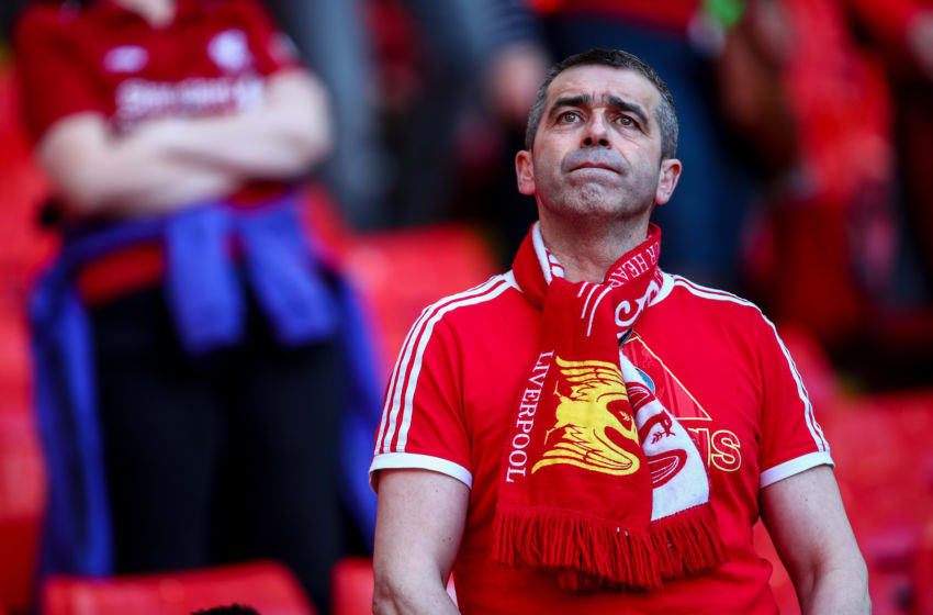 Liverpool fan, Anfield. (Photo by Robbie Jay Barratt - AMA/Getty Images)