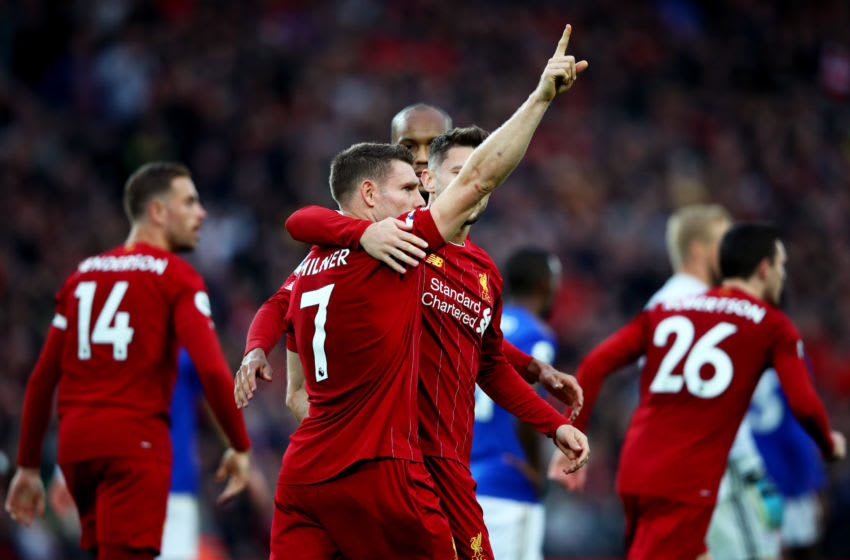 LIVERPOOL, ENGLAND - OCTOBER 05: James Milner of Liverpool celebrates after scoring his team's second goal during the Premier League match between Liverpool FC and Leicester City at Anfield on October 05, 2019 in Liverpool, United Kingdom. (Photo by Clive Brunskill/Getty Images)