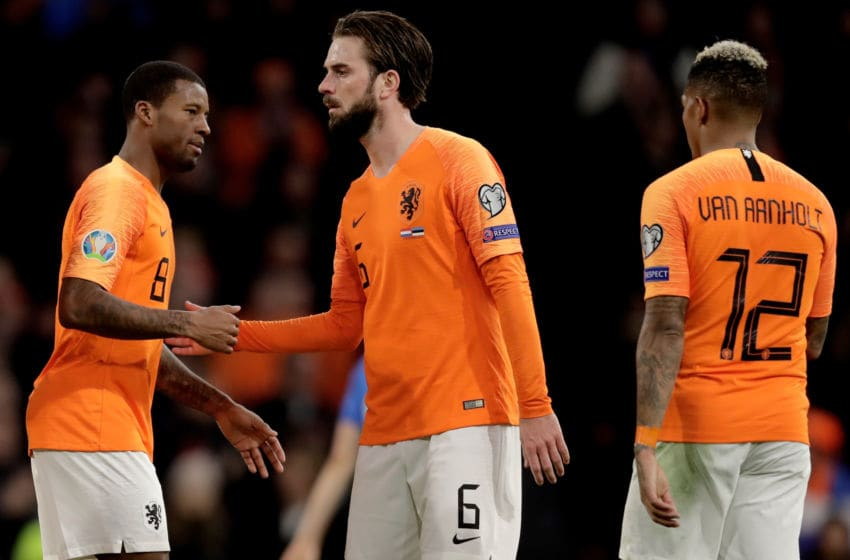 AMSTERDAM, NETHERLANDS - NOVEMBER 19: Georginio Wijnaldum of Holland celebrates 3-0 with Davy Propper of Holland, Patrick van Aanholt of Holland during the EURO Qualifier match between Holland v Estonia at the Johan Cruijff Arena on November 19, 2019 in Amsterdam Netherlands (Photo by Laurens Lindhout/Soccrates/Getty Images)