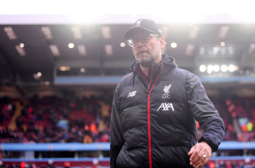 BIRMINGHAM, ENGLAND - NOVEMBER 02: Jurgen Klopp, Manager of Liverpool looks on prior to the Premier League match between Aston Villa and Liverpool FC at Villa Park on November 02, 2019 in Birmingham, United Kingdom. (Photo by Laurence Griffiths/Getty Images)