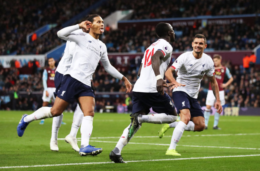 BIRMINGHAM, ENGLAND - NOVEMBER 02: Sadio Mane of Liverpool celebrates with teammates after scoring his team's second goal during the Premier League match between Aston Villa and Liverpool FC at Villa Park on November 02, 2019 in Birmingham, United Kingdom. (Photo by Marc Atkins/Getty Images)