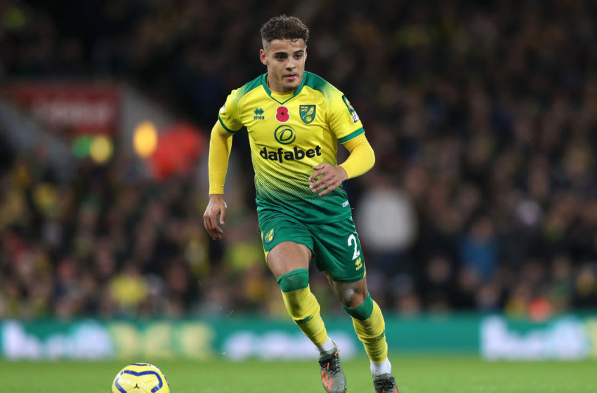 NORWICH, ENGLAND - NOVEMBER 08: Max Aarons of Norwich City in action during the Premier League match between Norwich City and Watford FC at Carrow Road on November 08, 2019 in Norwich, United Kingdom. (Photo by Naomi Baker/Getty Images)