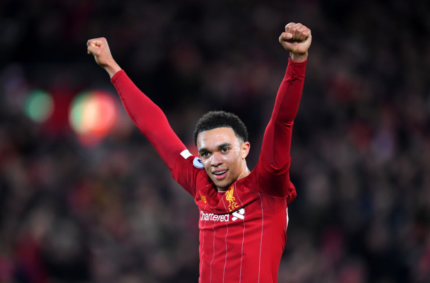 LIVERPOOL, ENGLAND - DECEMBER 04: Trent Alexander-Arnold of Liverpool celebrates his sides fourth goal during the Premier League match between Liverpool FC and Everton FC at Anfield on December 04, 2019 in Liverpool, United Kingdom. (Photo by Laurence Griffiths/Getty Images)