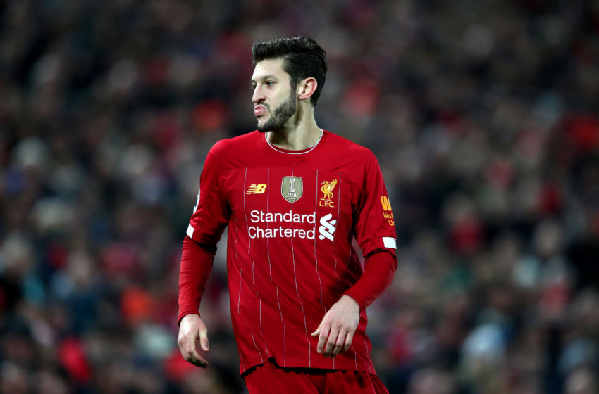 LIVERPOOL, ENGLAND - DECEMBER 29: Adam Lallana of Liverpool during the Premier League match between Liverpool FC and Wolverhampton Wanderers at Anfield on December 29, 2019 in Liverpool, United Kingdom. (Photo by Clive Brunskill/Getty Images)