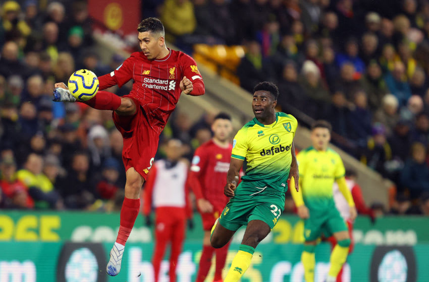NORWICH, ENGLAND - FEBRUARY 15: Roberto Firmino of Liverpool in action during the Premier League match between Norwich City and Liverpool FC at Carrow Road on February 15, 2020 in Norwich, United Kingdom. (Photo by Julian Finney/Getty Images)
