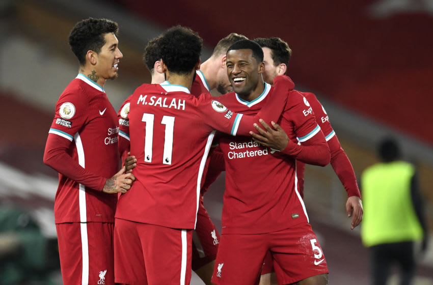 Georginio Wijnaldum, Liverpool, Mohamed Salah, Roberto Firminho (Photo by Peter Powell - Pool/Getty Images)