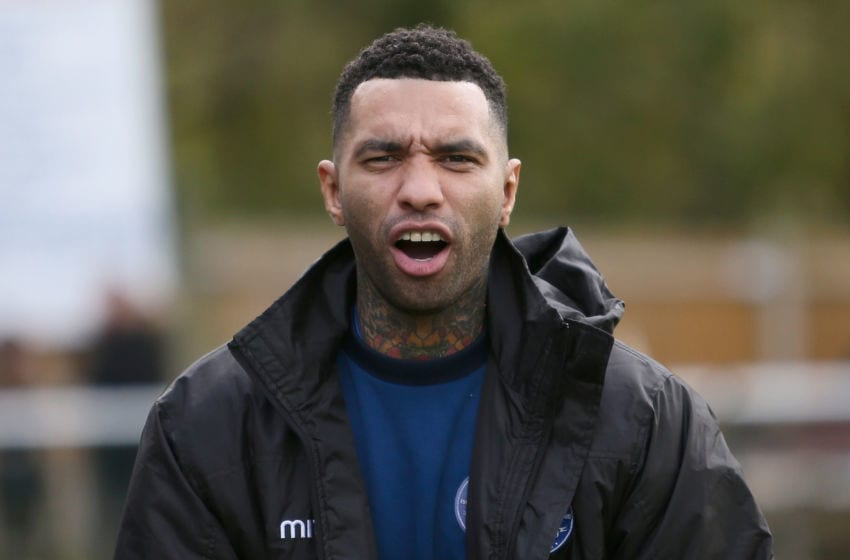 LEATHERHEAD, ENGLAND - NOVEMBER 05: Jermaine Pennant of Billericay Town looks on prior to The Emirates FA Cup First Round match between Leatherhead and Billericay Town on November 5, 2017 in Leatherhead, England. (Photo by Harry Murphy/Getty Images)