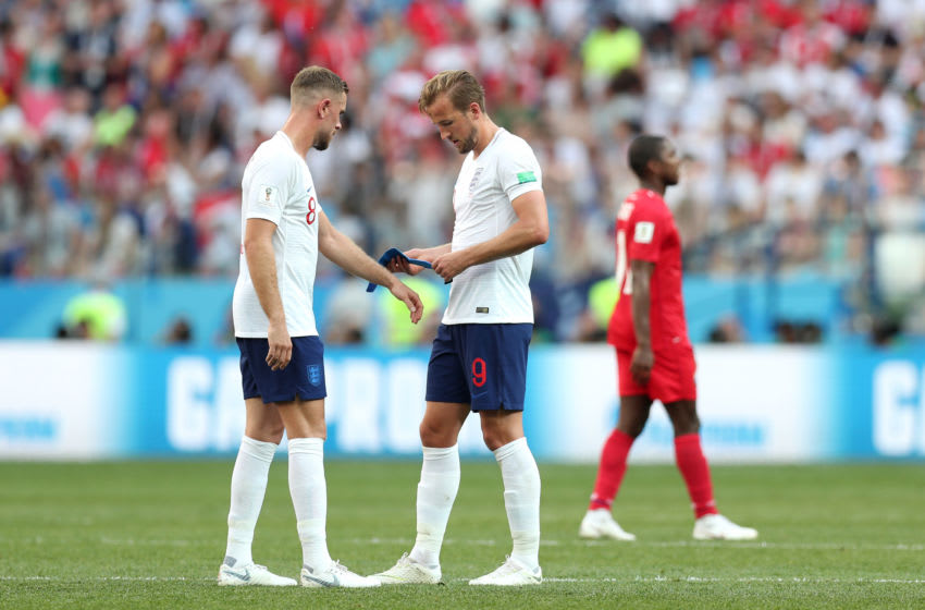 NIZHNY NOVGOROD, RUSSIA - JUNE 24: Harry Kane gives the captains armband to Jordan Henderson of England during the 2018 FIFA World Cup Russia group G match between England and Panama at Nizhny Novgorod Stadium on June 24, 2018 in Nizhny Novgorod, Russia. (Photo by Alex Morton/Getty Images)