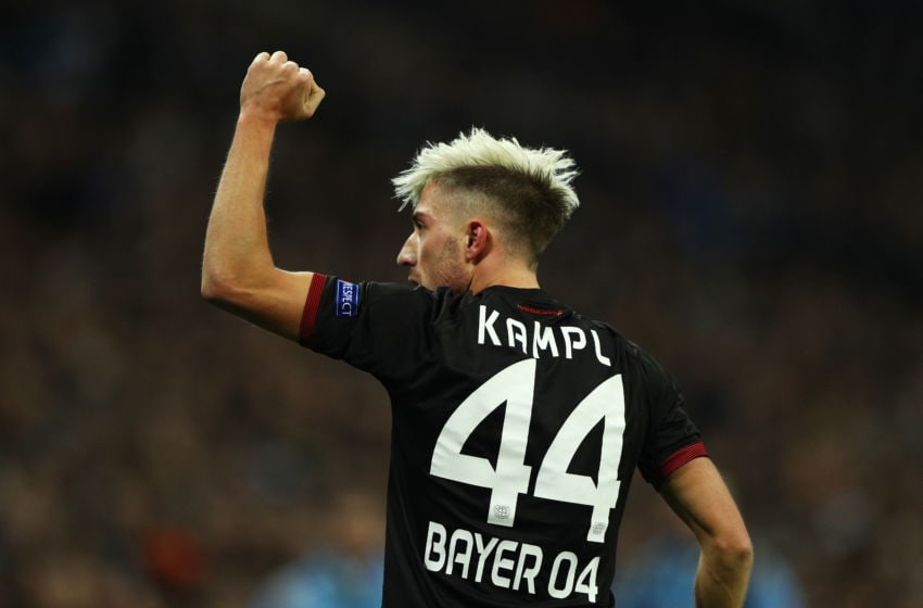 LONDON, ENGLAND - NOVEMBER 02: Kevin Kampl of Bayer Leverkusen celebrates scoring his sides first goal during the UEFA Champions League Group E match between Tottenham Hotspur FC and Bayer 04 Leverkusen at Wembley Stadium on November 2, 2016 in London, England. (Photo by Ian Walton/Getty Images)