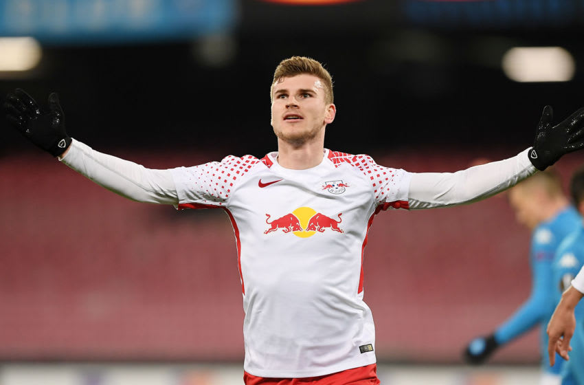 NAPLES, ITALY - FEBRUARY 15: Timo Werner player of RB Leipzig celebrates after scoring the 1-1 goal during UEFA Europa League Round of 32 match between Napoli and RB Leipzig at the Stadio San Paolo on February 15, 2018 in Naples, Italy. (Photo by Francesco Pecoraro/Getty Images)