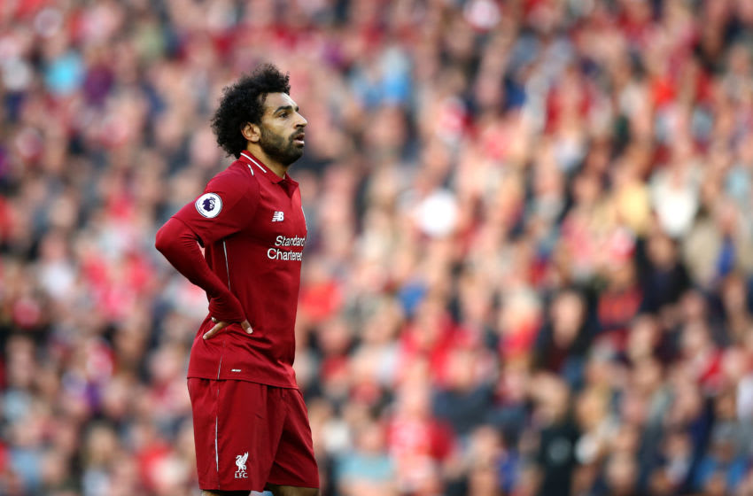LIVERPOOL, ENGLAND - AUGUST 25: Mohamed Salah of Liverpool looks on during the Premier League match between Liverpool FC and Brighton & Hove Albion at Anfield on August 25, 2018 in Liverpool, United Kingdom. (Photo by Jan Kruger/Getty Images)