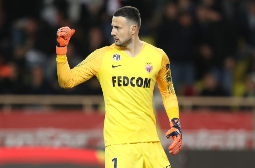 Monaco's Croatian goalkeeper Danijel Subasic reacts after stopping a penalty during the French L1 football match Monaco vs Lyon on February 24, 2019 at the