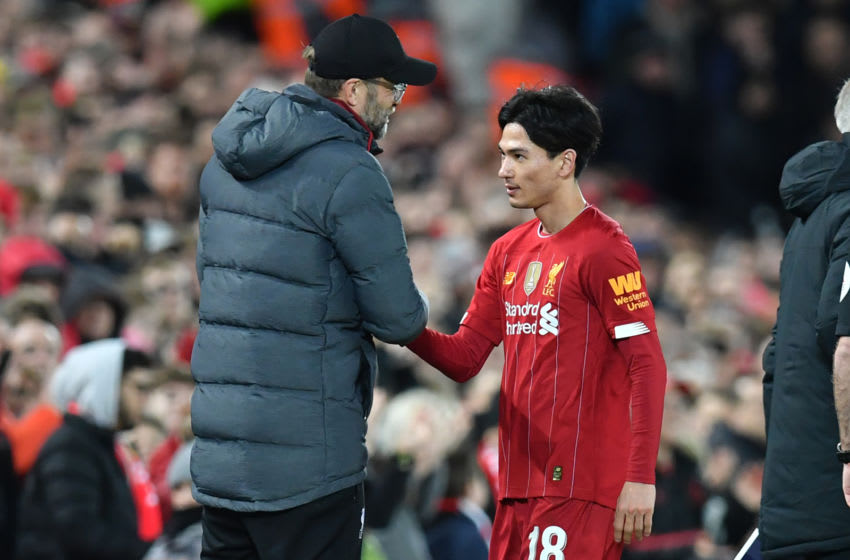 Liverpool, Takumi Minamino. (Photo by PAUL ELLIS/AFP via Getty Images)