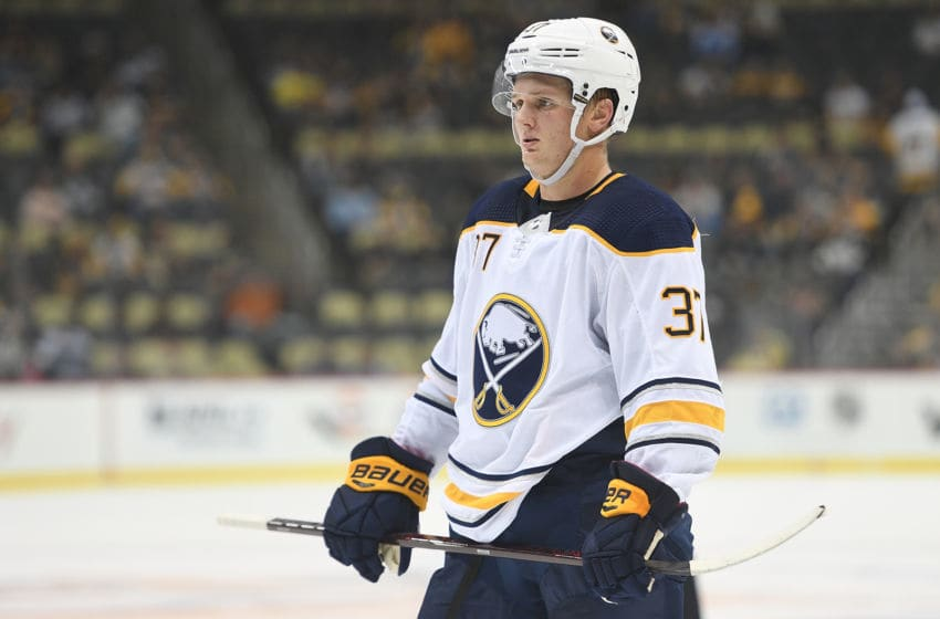 PITTSBURGH, PA - SEPTEMBER 26: Casey Mittelstadt #37 of the Buffalo Sabres looks on in the third period during the game against the Pittsburgh Penguins on September 26, 2018, at PPG Paints Arena in Pittsburgh, PA. (Photo by Justin Berl/Icon Sportswire via Getty Images)