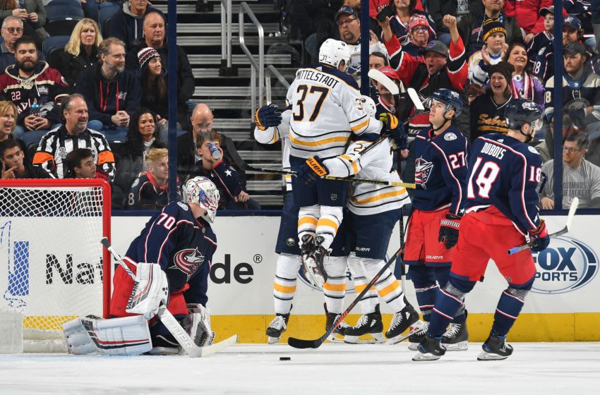 COLUMBUS, OH - OCTOBER 27: Casey Mittelstadt #37 of the Buffalo Sabres reacts to the goal scored by Kyle Okposo #21 of the Buffalo Sabres against the Columbus Blue Jackets in the first period on October 27, 2018 at Nationwide Arena in Columbus, Ohio. (Photo by Jamie Sabau/NHLI via Getty Images)