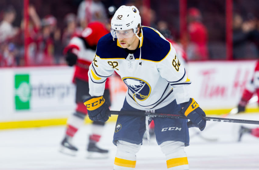 OTTAWA, ON - NOVEMBER 01: Buffalo Sabres Defenceman Nathan Beaulieu (82) during warm-up before National Hockey League action between the Buffalo Sabres and Ottawa Senators on November 1, 2018, at Canadian Tire Centre in Ottawa, ON, Canada. (Photo by Richard A. Whittaker/Icon Sportswire via Getty Images)