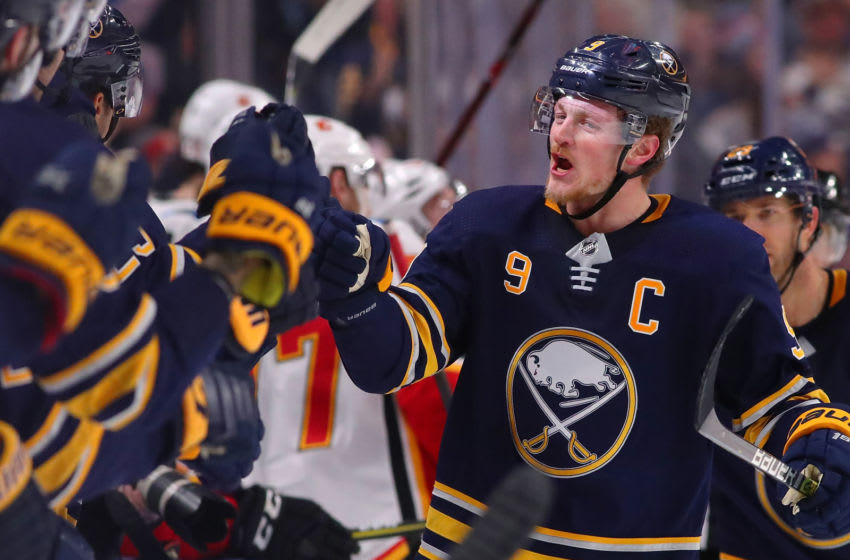 BUFFALO, NY - OCTOBER 30: Jack Eichel #9 of the Buffalo Sabres during the game against the Calgary Flames at the KeyBank Center on October 30, 2018 in Buffalo, New York. (Photo by Kevin Hoffman/Getty Images)