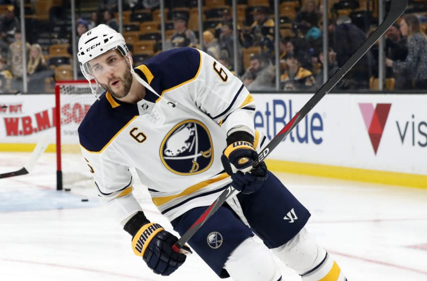 BOSTON, MA - DECEMBER 16: Buffalo Sabres defenseman Marco Scandella (6) skates in warm up before a game between the Boston Bruins and the Buffalo Sabres on December 16, 2018, at TD Garden in Boston, Massachusetts. (Photo by Fred Kfoury III/Icon Sportswire via Getty Images)
