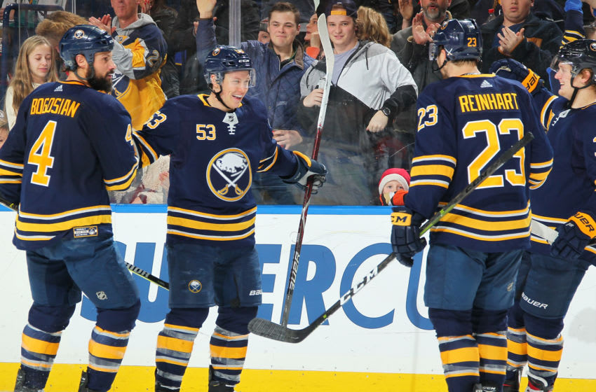 BUFFALO, NY - DECEMBER 22: Jeff Skinner #53 of the Buffalo Sabres celebrates his third period goal against the Anaheim Ducks during an NHL game on December 22, 2018 at KeyBank Center in Buffalo, New York. (Photo by Sara Schmidle/NHLI via Getty Images)