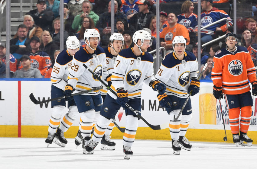 EDMONTON, AB - JANUARY 14: Jason Pominville #29, Evan Rodrigues #71, Vladimir Sobotka #17, Jake McCabe #19 and Rasmus Ristolainen #55 of the Buffalo Sabres skate to the bench after a goal during the game against the Edmonton Oilers on January 14, 2019 at Rogers Place in Edmonton, Alberta, Canada. (Photo by Andy Devlin/NHLI via Getty Images)