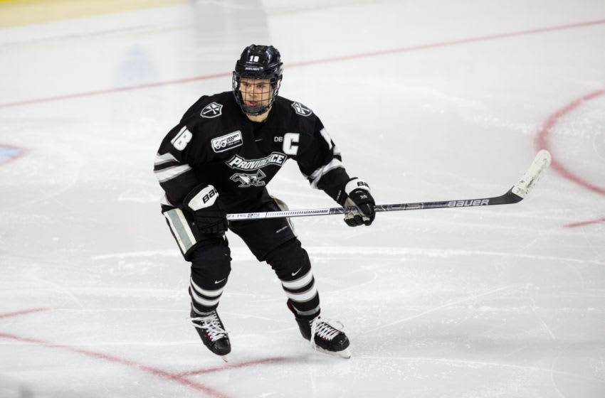 Sabres' prospect Jacob Bryson #18 of the Providence College Friars skates against the Boston College Eagles. (Photo by Richard T Gagnon/Getty Images)