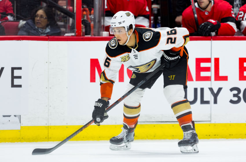 OTTAWA, ON - FEBRUARY 07: Anaheim Ducks Defenceman Brandon Montour (26) prepares for a face-off during third period National Hockey League action between the Anaheim Ducks and Ottawa Senators on February 7, 2019, at Canadian Tire Centre in Ottawa, ON, Canada. (Photo by Richard A. Whittaker/Icon Sportswire via Getty Images)