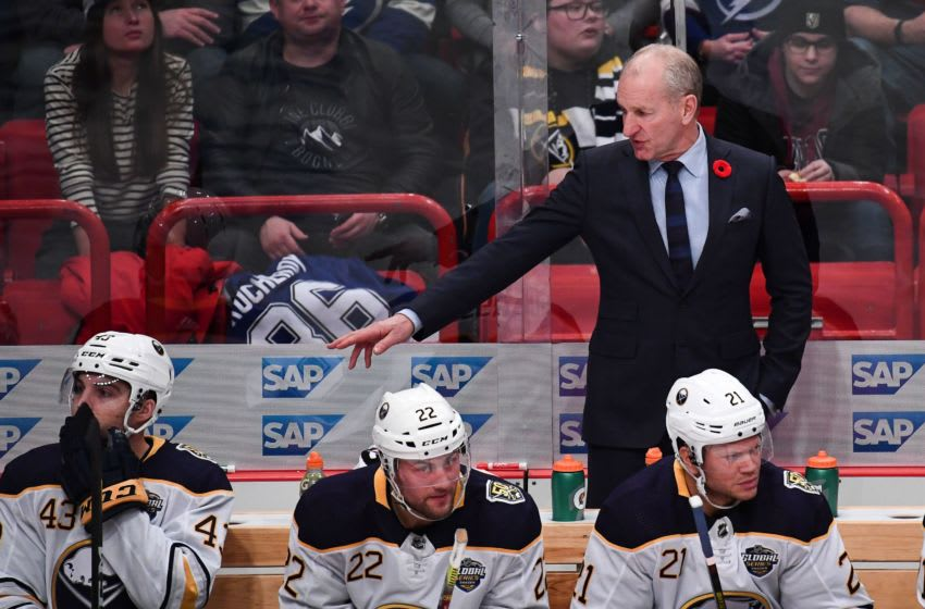Ralph Krueger head coach of Buffalo Sabres reacts during the NHL Global Series Ice Hockey match Tampa Bay Lightning v Buffalo Sabres in Stockholm on November 9, 2019. (Photo by JONATHAN NACKSTRAND / AFP) (Photo by JONATHAN NACKSTRAND/AFP via Getty Images)