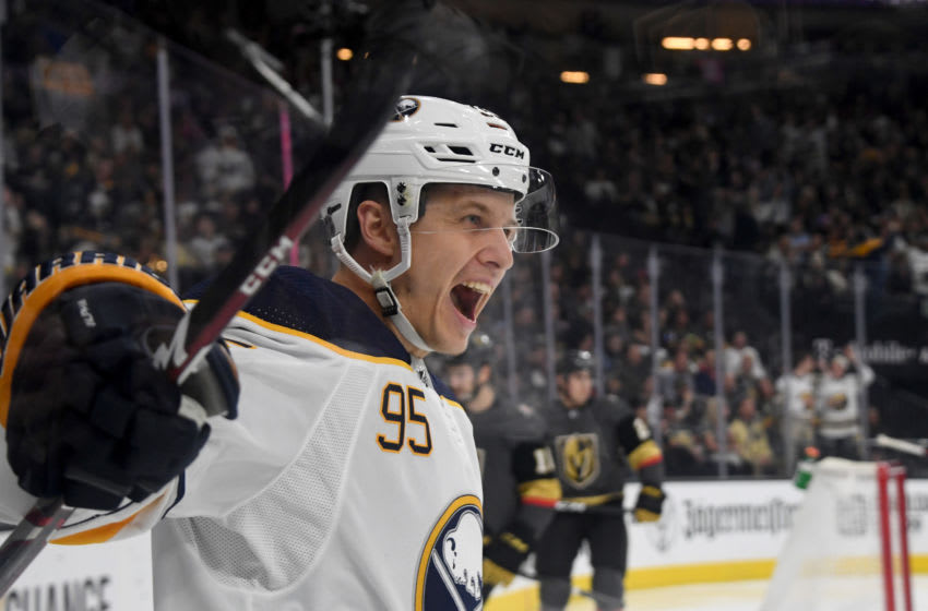 LAS VEGAS, NEVADA - FEBRUARY 28: Dominik Kahun #95 of the Buffalo Sabres reacts after scoring a first-period goal against the Vegas Golden Knights during their game at T-Mobile Arena on February 28, 2020 in Las Vegas, Nevada. (Photo by Ethan Miller/Getty Images)