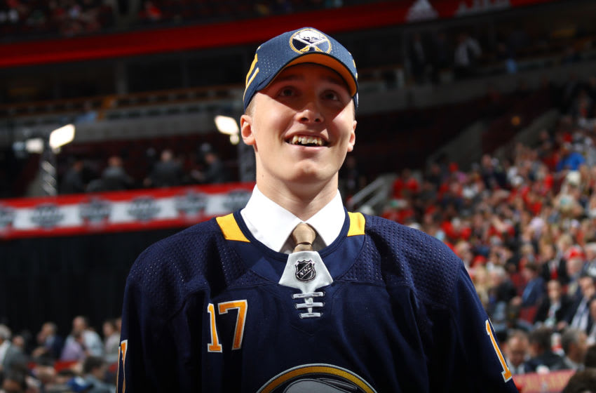 CHICAGO, IL - JUNE 24: Ukko-Pekka Luukkonen celebrates after being selected 54th overall by the Buffalo Sabres during the 2017 NHL Draft at the United Center on June 24, 2017 in Chicago, Illinois. (Photo by Bruce Bennett/Getty Images)