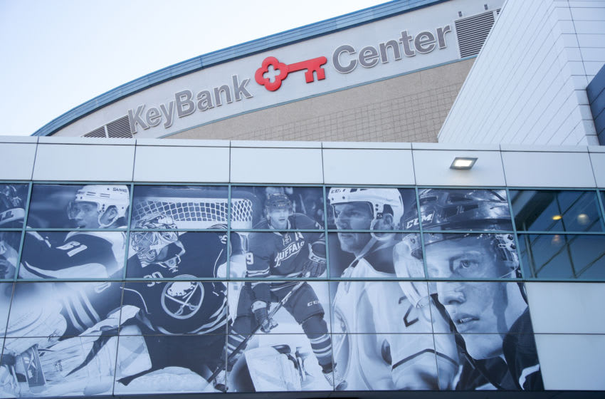 BUFFALO, NY - OCTOBER 5: A general view of the outside of the KeyBank Center before the game between the Buffalo Sabres and the Montreal Canadiens at the KeyBank Center on October 5, 2017 in Buffalo, New York. (Photo by Kevin Hoffman/Getty Images)